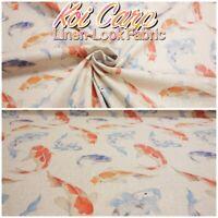 Watercolour Koi Carp Oriental Fish Cotton-Rich Natural Linen Look Craft Fabric