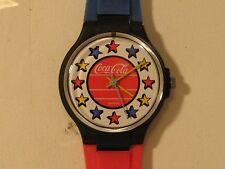 RETRO COCA-COLA WOMAN'S QUARTZ WATCH/MINT COND/KEEPS TIME/NEW BATT/SWISS MADE.