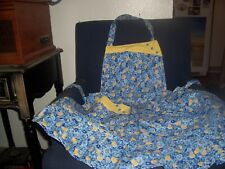 Handmade Ladies/Misses Apron, Blue/Yellow Flowers W/Yellow Pattern Trim