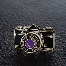 Olympus OM SLR 35mm Camera Enamel Pin - Gold