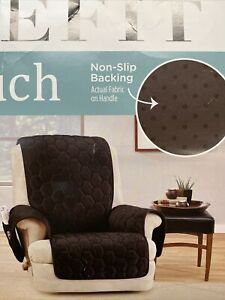 Sure Fit Silky Touch Non-Slip Recliner Furniture Chocolate Brown Soft Plush