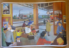 More details for vintage french double sided school poster 100x65cm the station / the farm