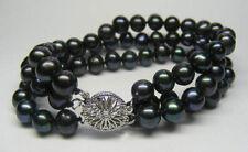 "3 Rows 7-8Mm Black Akoya Cultured Pearl Bracelet 7.5"" Saa+Sa"