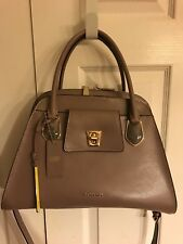 Cromia Pebbled Genuine Leather Suede Silver Hardware  Satchel  Made In Italy