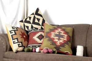 4 Set of Jute Pillow Throw Indian Jute Cushion cover Handmade Kilim Vintage 9010
