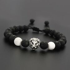 Fashion Men's 8MM Lava Rock Howlite Lion Head Yoga Beaded Macrame Bracelet A20