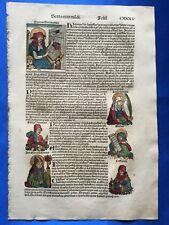 Altkoloriertes Doppelblatt CXXXV & CXXXVI, Schedel Weltchronik 1493, Nürnberg