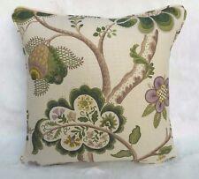 "Sanderson Fabric Cushion Cover 'ROSLYN' Green - 100% Linen - 18"" - Autumn Prints"