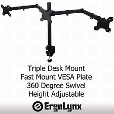 "Triple LCD Monitor Clamp TV Arm Desk Mount Computer Screen Bracket 3 13""-24"""