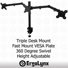 "Triple Moniteur LCD Pince TV Arm Desk Mount Computer Screen Support 3 13"" -24"""