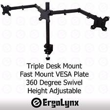 "Triple LCD Monitor Clamp TV Arm Desk Mount Computer Screen Bracket 3 13""-24"""