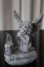 Deko Engel auf Stein mit Spruch Grabengel Kerze Figur Grab Grabschmuck Grabdeko