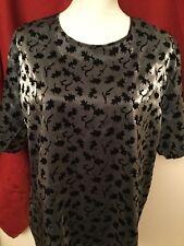 Blair Boutique Woman's Plus Black & Silver Blouse W Tear Drop Back Cut Out 2X