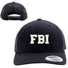 FBI Federal Bureau of Investigation MESH TRUCKER SNAP CLOSURE CAP HAT BLACK