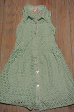 JouJou Girls Lace Lined Sleeveless Button-Front SEAFOAM GREEN Dress Sz 10 *EUC*