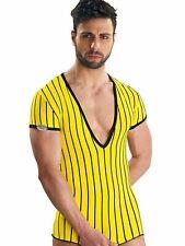 Eros Veneziani Sexy Profundo Cuello En V Camiseta a Rayas V-Neck Manga Corta