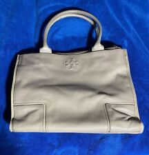 Tory Burch French Gray Ella Canvas Leather Tote $295