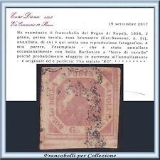 ASI 1858 Napoli 2 gr. rosa n. 5c Certificato Diena Usato Antichi Stati Italiani