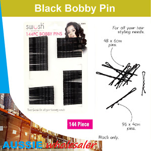 Au Black Wave Bobby Pins 144pcs with Invisible Flat Top/ High Quality