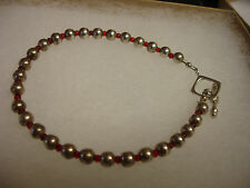Vintage Sterling Silver 5mm Bead and Red Bead Toggle Bracelet 7.5""
