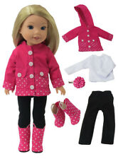 """Pink Polka Dot Rain Outfit Boots Fits Wellie Wishers 14.5"""" American Girl Clothes"""
