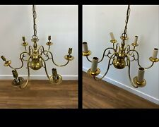 More details for a pair of vintage gilt brass schoenberg light 6 candle chandeliers