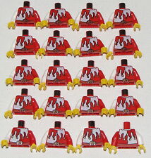 LEGO LOT OF 20 NEW RED AND WHITE JESTER JOKER CASTLE KINGDOMS TORSOS PARTS