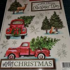 RED TRUCK CHRISTMAS WINDOW CLINGS 19 CLINGS FARMHOUSE DECOR