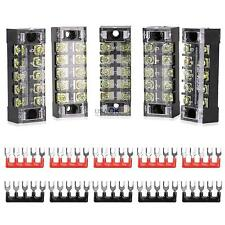 5Pcs Dual Row 5 Position Screw Electric Barrier Terminal Strip Block 600V 15A