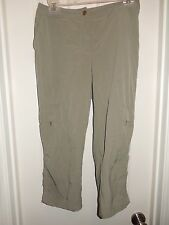 ZENERGY Chico's Green Cargo Capri Cropped Pants Size 0
