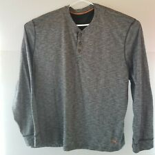 Tommy Bahama Mens XXL Black Long Sleeve Henley T Shirt With Orange Embroidery