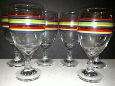 Set Of 6 Libbey MAMBO Multicolor Stripes Water Or Iced Tea Glasses Goblet EUC