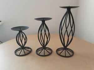 3 x Increasing Solid Wrought Iron Candle Sticks Boho Dungeon Hippy