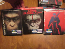 WAR,RISE & DAWN OF THE PLANET OF THE APES BLU-RAY,DIGITAL STEELBOOK SET COMPLETE