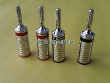 4Pc 6B Rhodium Plated Speaker Cable Banana Plug Terminal Connector