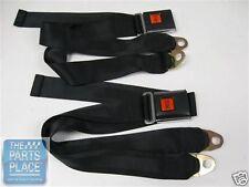 """Universal """"PUSH"""" Red Button Lap Seat Belts - Black - Pair - 1201"""