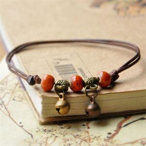 2PCS Bell Charm Women Anklet Ankle Bracelet Ceramic Beads Weave Rope Foot Chain