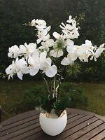 Neu elegantes Gesteck in Weiß/Creme Orchidee 84cmTisch-Deko Fenster Kunstblumen