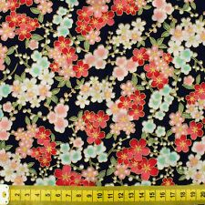 Fat quarter Japanese Sakura cherry blossom very dark navy cotton fabric FQ F0055