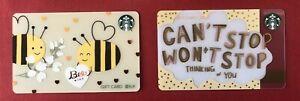 CS2104 2021 China Starbucks coffee Bee gift cards 2pcs