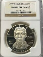 2009 P NGC PF69 Ultra Cameo LOUIS BRAILLE Commemorative US Silver Dollar $1