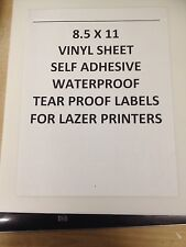 20 Sheets (8.5 X 11) Vinyl Sheets For Lazer Printers. Drum Labels Water Resistan