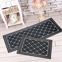 Non Slip Kitchen Bathroom Floor Mat Black White Rug Door Runner Hallway Carpet