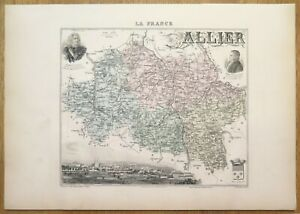Gravure originale de 1895 - Carte du département de l'Allier