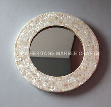 "12"" White Mother of Pearl Round Wooden Mirror Precious Inlaid Hallway Decor E324"