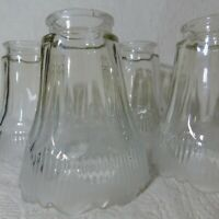 Vintage lot of 4 Frosted & Clear Embossed Scalloped Glass Shades lamp light