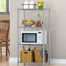 4 Tier Metal Storage Rack Stand Shelving Wire Shelf Home Kitchen Office Unit UK