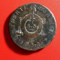 #1591 - RARE - Louis XVI 1 Sol aux balances 1793 BB Strasbourg - FACTURE