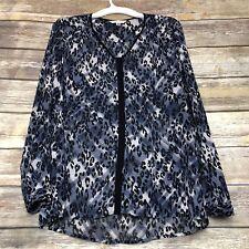CAbi 977 Leopard Plaid Fatale Sheer Button Down Blouse Size Medium Blue Black