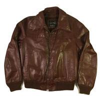 Vtg Sears Mens CAFE RACER Jacket MOTORCYCLE Biker Leather Bomber Coat 42 Lined